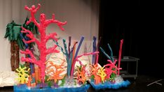 Under the sea coral from spray foam, pool noodles, cups, egg cartons, and packing foam.