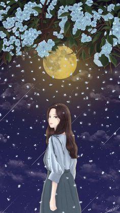 Badass Wallpaper Iphone, Wallpaper Wa, Korean Illustration, Black Aesthetic Wallpaper, Digital Art Anime, Cute Girl Drawing, Painting Of Girl, Anime Scenery, Anime Art Girl