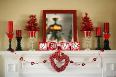 Valentine's Day Mantel Inspiration & Party Announcement - Home Stories A to Z Heart Decorations, Pretty Designs, Romantic Homes, Love Home, Valentines Day, Chandelier, Ceiling Lights, Lighting, Home Decor