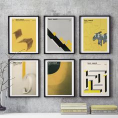 Mid-Century German Graphic Design 6 piece Wall Art YELLOWS Form Zweck Print Reproduction Industrial Magazine Print Graphic Designer Gift