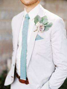 11 Modern Groom Looks That Ditched the Traditional Tuxedo - Brit + Co Wedding Groom, Wedding Men, Wedding Suits, Wedding Attire, Trendy Wedding, Summer Wedding, Garden Wedding, Wedding Blue, Wedding Dresses
