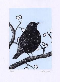 Amsel Linolschnitt | linocut blackbird | Katja Rub