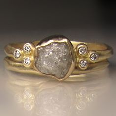 Raw Diamond Engagement Ring, Raw Diamond Cluster Ring,  Recycled 14k Yellow Gold Rough Diamond Ring, 1.90 Carats