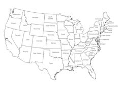 A printable map of the United States of America labeled