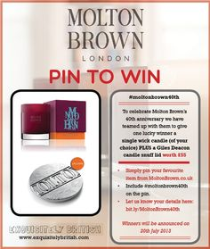 We've teamed up with Molton Brown to give one lucky pinner the chance to win £55 worth of Molton Brown goodies! Simply pin your favourite item from www.moltonbrown.co.uk and include #moltonbrown40th on the pin. Let us know your details at: http://eepurl.com/Bm0MH and you're all set. Happy Pinning! x