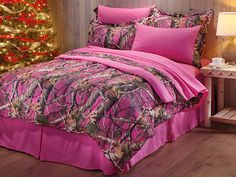 If camo bedding is the look that calls to you, this is your set! Whether you're going for a log cabin feel or hunting room décor, add a little fun to your nighttime routine when you deck out your bed in this Pink Camo Bed Set from CASTLECREEK! Camo Bedding, Pink Bedding Set, Queen Bedding Sets, Comforter Sets, Pink Camo Bedroom, Camo Rooms, Camouflage Bedroom, Pink Camouflage, Women's Camo