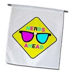 Nerd Zone Nerds ahead CMYK Geek Cartoon - 12 X 18 Inch Garden Flag by 3dRose, http://www.amazon.com/dp/B00BRF26P4/ref=cm_sw_r_pi_dp_4z-orb1BK796A