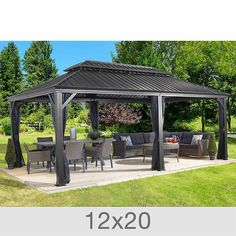 Patio Sun Shelter Pool Furniture Gazebo 12 x 20 ft Hardtop Steel Roof Garden Set Order TODAY While Stock Lasts! Product Description: Improve now your outdoor space with this Patio Sun Shelter. It not only provides a shaded space to relax by. Backyard Pavilion, Backyard Gazebo, Backyard Patio Designs, Patio Roof, Backyard Landscaping, Gazebo On Deck, Outdoor Gazebos, Pergola Garden, Pergola Roof