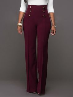 286cc791d52af Wome Button Design High Waist Long Casual Wide Leg Pants (S M L XL 2XL)   22.99