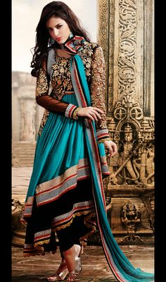 Blue and Black Layered Net Satin Long Anarkali Suit; $149