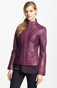 LaMarque Funnel Neck Leather Jacket | Nordstrom