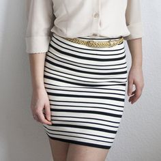 A simple way to turn a sweater into a fully-lined comfy pencil skirt without a visible waistband.