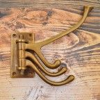 Antique Brass Swinging, Rotating Multi-Arm Coat Hook Hooks Wall Mounted Door Hook Hanger for Hat Coa