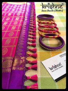 Saree Tassels Designs, Saree Kuchu Designs, Bridal Blouse Designs, Indian Wedding Outfits, Bridal Outfits, Wedding Saree Collection, Sari Design, Silk Thread Bangles, Elegant Saree