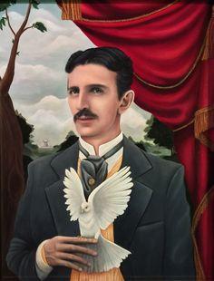 Nikola Tesla and his pigeon
