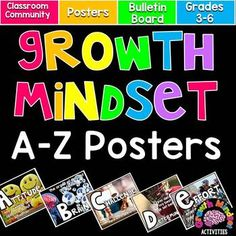 Growth Mindset A-Z Inspirational Posters (for Word Wall or