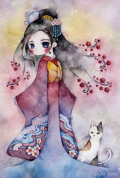 Girl & cat painting by Juri Ueda - smooth water-colored background, smooth feeling. But still wanna find out more of its hidden meaning :)