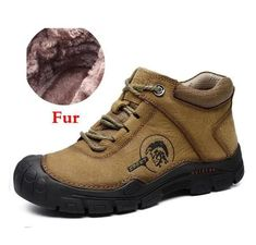 Men Boots Natural Leather Handmade Super Warm Fur Winter Ankle Boots – Kidenhouse #menboots #menfashion Winter Heels, Winter Boots, Ankle Boots Men, Lace Up Boots, Cow Leather, Leather Boots, Steel Toe Boots, Boot Types, Military Fashion