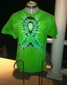 Green ribbon tie dye tshirt Kidney cancer ribbon short sleeve size medium t shirt. $22.00, via Etsy.