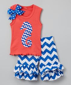 Loving this Beary Basics Coral Tank & Blue Chevron Ruffle Shorts - Infant, Toddler & Girls on #zulily! #zulilyfinds