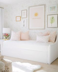 Little Girl's daybed mindy gayer design co is part of Nursery daybed - Girls Daybed Room, Nursery Daybed, Kids Daybed, Daybed Bedding, Girl Nursery, Room Girls, Daybed Ideas, Feather Wallpaper, Palm Wallpaper
