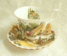 Vintage Royal Albert Thatched Cottage China Teacup Montrose Shape English Garden