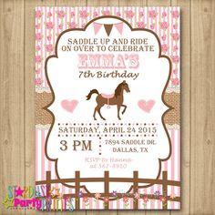 Horse Birthday Invitation, Horse Invitation, Cowgirl Invitation by StardustEvents on Etsy https://www.etsy.com/listing/232213089/horse-birthday-invitation-horse