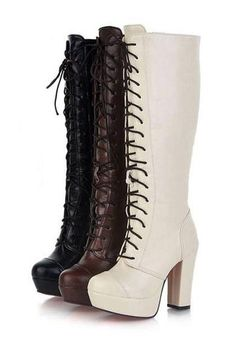 c364f282acc9 Faux Leather Lace Up Detail Chunky Heel Boots