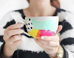 Create beautiful Watercolour Mugs with your favourite Nail Polish colours. Check out the Sharpie Mugs too!