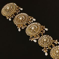 Indian gold store | EXCLUSIVE INDIAN BRIDAL GOLD TONE KUNDAN FAUX PEARL BEADS LONG HAIR ...
