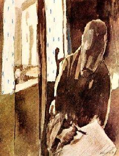 Autoportrait à la fenêtre (1909)  Aquarelle sur papier (30 x 24)  Paul Klee