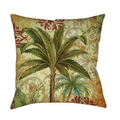 Thumbprintz Palms Pattern III Indoor/ Outdoor Pillow (16 x 16), Multi (Polyester, Graphic Print)