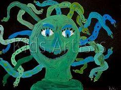 Greek Mythology Medusa art for Alivia! Ancient Greek Art, Ancient Greece, Ancient History, Art History, Artists For Kids, Art For Kids, Medusa Art, Medusa Head, Greek Crafts