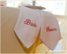 Bride and Groom Napkins by ArtisticEmbroidery11 on Etsy, $8.00