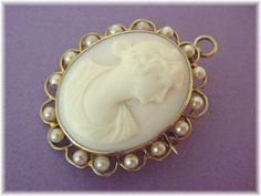 14K Gold  Carved Shell Cameo & Pearl Pendant by FindMeTreasures
