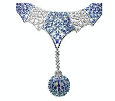 175 carats diamond and sapphire necklace. There are no words to describe how breathtaking this is.