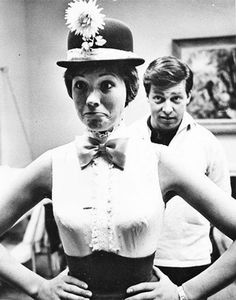 Julie Andrews at Mary Popins costume fitting