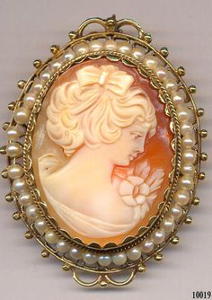 Cameo Brooch  Hand Carved  14K YG   Item No 10019 by Cleoras, $400.00
