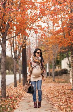 Fall Colors + Plaid Blanket Scarf