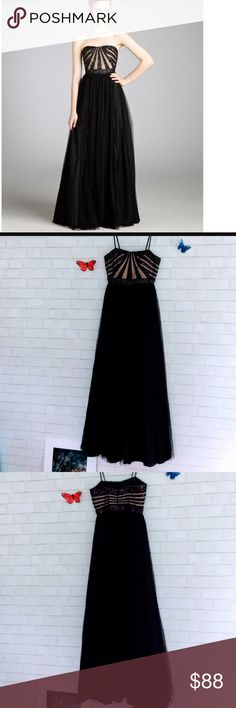 Aiden Mattox Sequened Strapless Gown Size 2 Gorgeous sequined strapless gown with tulle bottom perfect for a classic yet stylish look for an evening event . Size 2 . In excellent condition worn only once for an event. Color Black Aiden Mattox Dresses