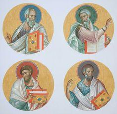 The Four Holy Evangelists Matthew, Mark, Luke and John the Theologian. Religious Images, Religious Icons, Religious Art, Byzantine Icons, Byzantine Art, Church Icon, Catholic Art, Art Icon, Orthodox Icons
