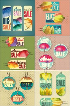 Autumn (fall) discount price tags vectors