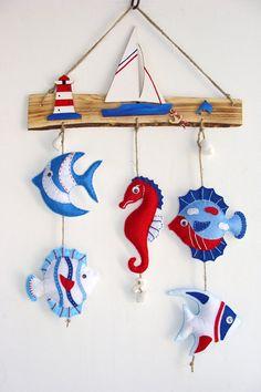 Coastal Decor, Dzieci morskie dekoracje, dzieci wystrój pokoju, Telefony ryby Filc, Plaża Decor, Handmade Ryby, miłośników morza, morskie Decor