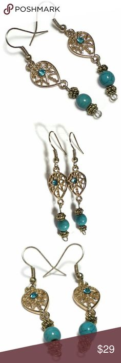 Gold and Turquoise Dream catcher earrings Handmade.  Beautiful bohemian style dangle earring with natural Turquoise gemstone and a blue rhinestone. Made with: 6mm Natural Gemstone beads 5mm gold colored spacer tibetan beads 2mm blue Rhinestone Jewelry Earrings