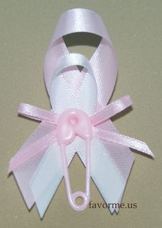 "(Measures 3.0 x 2.0 Inches) ""Diaper Pin"" Theme Center Piece W/White & Pink Ribbon Girl Baby Shower Guest Pin On Favors. Set of 12 Pieces. Design #02. Note: Can Be Matched To Mom Corsage Design #02."
