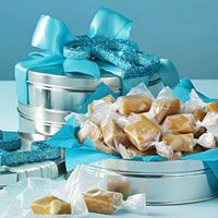 Creative Gift Wrapping Ideas for Christmas Food Exchange plus recipes including Macadamia & Coconut Caramels wrapped in a tin.