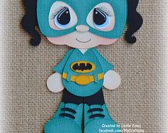 Batgirl Superhero Girl Premade Scrapbooking Embellishment Paper Piecing