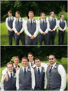 Grey suit vest groomsmen