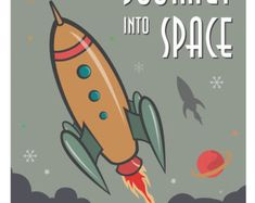 rocket ship poster on Etsy, a global handmade and vintage marketplace.