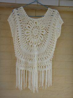 Hippie Fringed Top Crochet Fringed Vest by Tinacrochetstudio